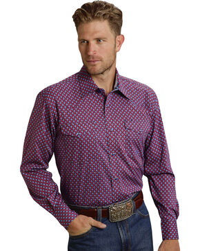 Roper Men's Amarillo Collection Red & Blue Print Western Shirt, Red, hi-res