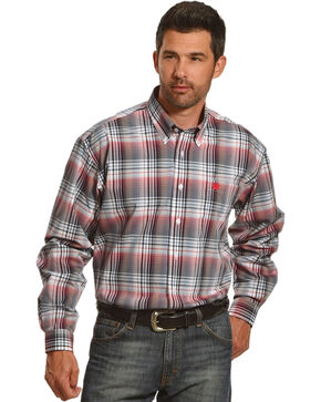 Cinch Men's White Plaid One Pocket Long Sleeve Shirt, White, hi-res