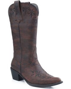 Roper Scroll Embroidered Cowgirl Boots - Pointed Toe, , hi-res