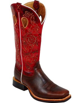 Twisted X Ruff Stock Red Embroidered Cowgirl Boots - Square Toe, Saddle Brown, hi-res