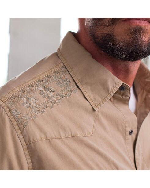 Ryan Michael Men's Embroidered Yoke Tencel Shirt , Beige/khaki, hi-res