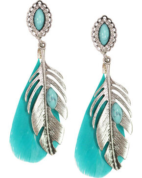 Shyanne Women's Feather Earrings, Turquoise, hi-res