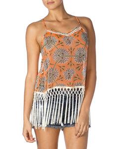 Miss Me Orange Floral Fringe Tank Top, Orange, hi-res