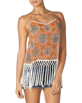 Miss Me Orange Floral Fringe Tank Top, Orange, hi-res