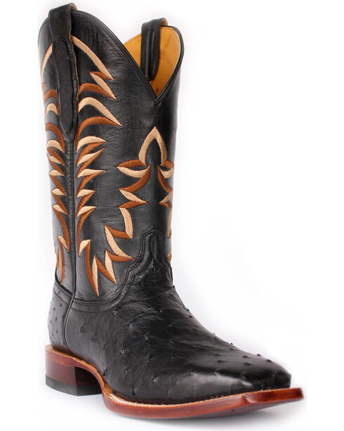 Cinch Men's Full Quill Ostrich Western Boots - Square Toe, Black, hi-res
