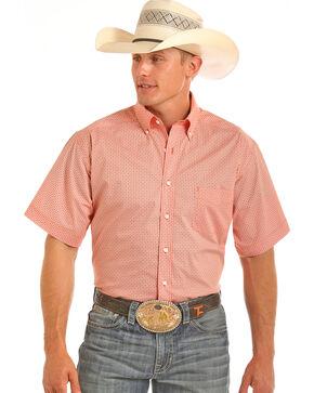 Tuf Cooper Performance Men's Competition Fit Short Sleeve Button Down Shirt, Orange, hi-res