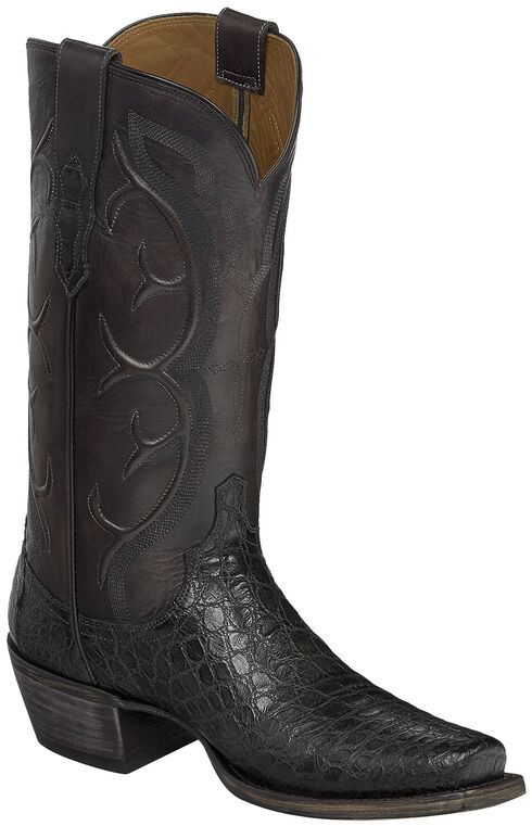 Lucchese Dark Grey Van Giant Gator Cowboy Boots - Square Toe  , Dark Grey, hi-res