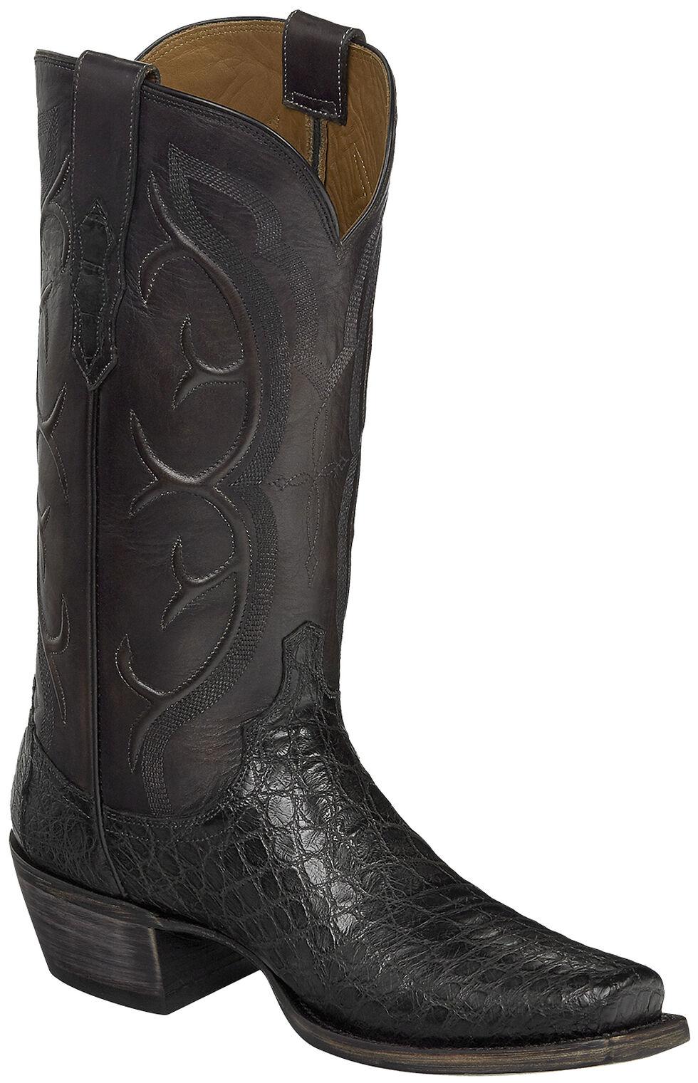 Lucchese Handmade Dark Grey Van Giant Gator Cowboy Boots - Square Toe  , Dark Grey, hi-res
