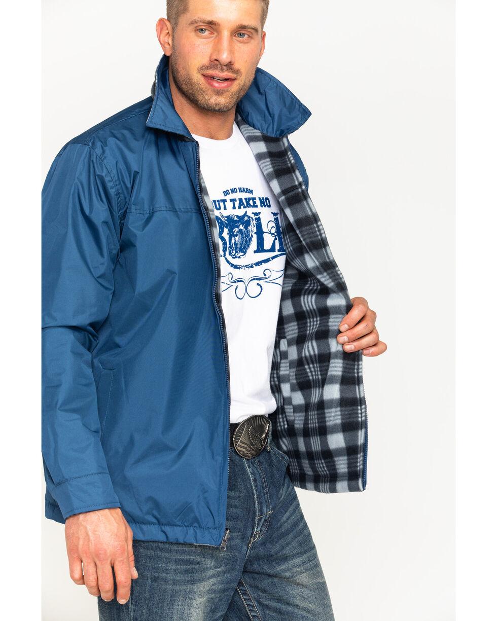 China Leather Men's Navy Reversible Plaid Jacket , Navy, hi-res