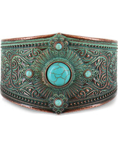 Shyanne Women's Turquoise Patina Cuff, Turquoise, hi-res