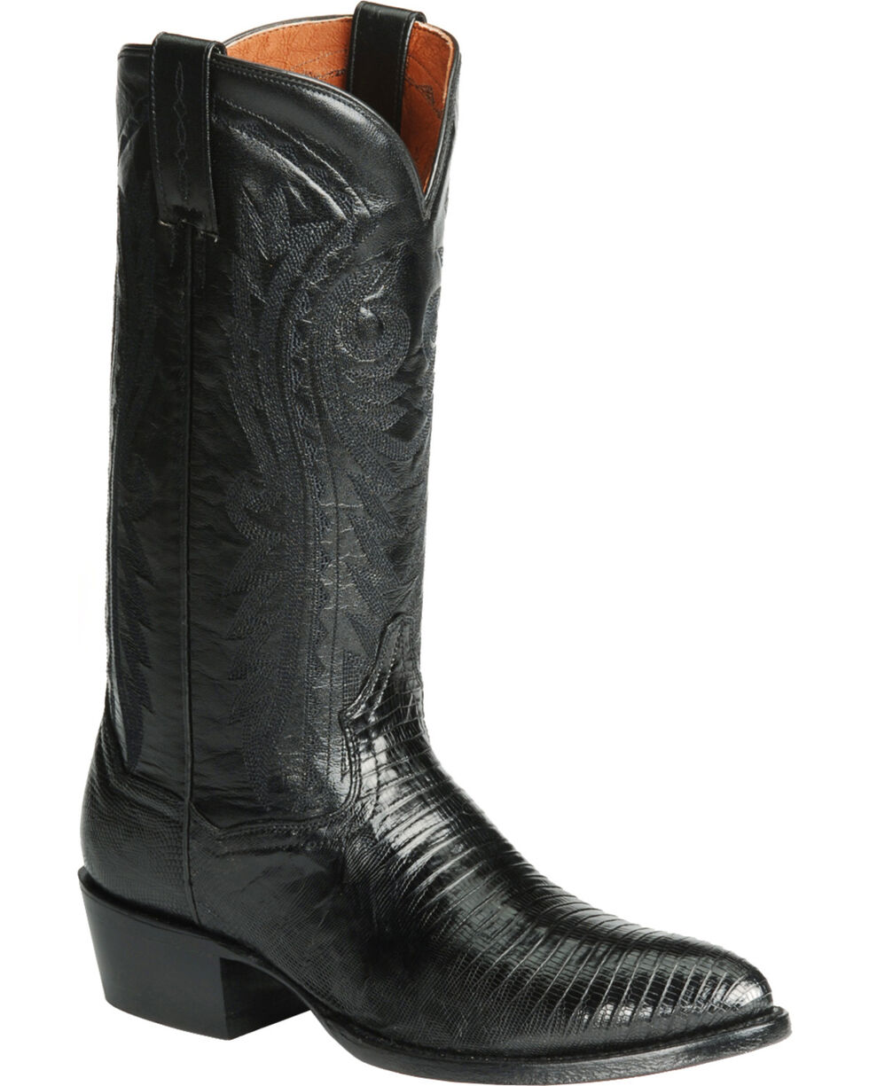 Dan Post Teju Lizard Western Boots - Pointed Toe, Black, hi-res