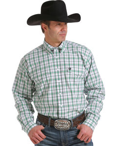 Cinch Men's Whits Double Pocket Long Sleeve Plaid Shirt, White, hi-res