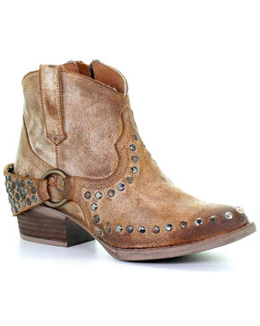 Circle G Women's Harness & Studs Ankle Boots - Round Toe, Honey, hi-res