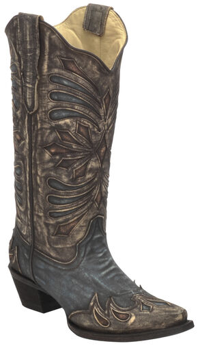 Corral Diamond Embroidered Cowgirl Boots - Snip Toe , Brown, hi-res