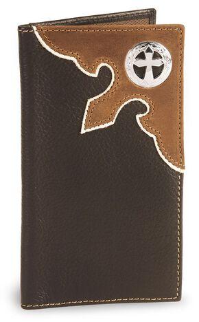 Nocona Cross Concho Leather Checkbook Wallet, Brown, hi-res