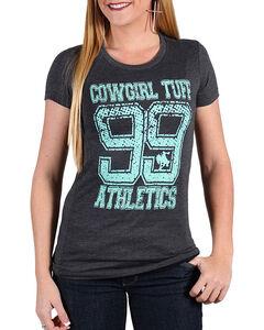 Cowgirl Tuff Women's Charcoal 99 Athletics Print Tee , Charcoal, hi-res