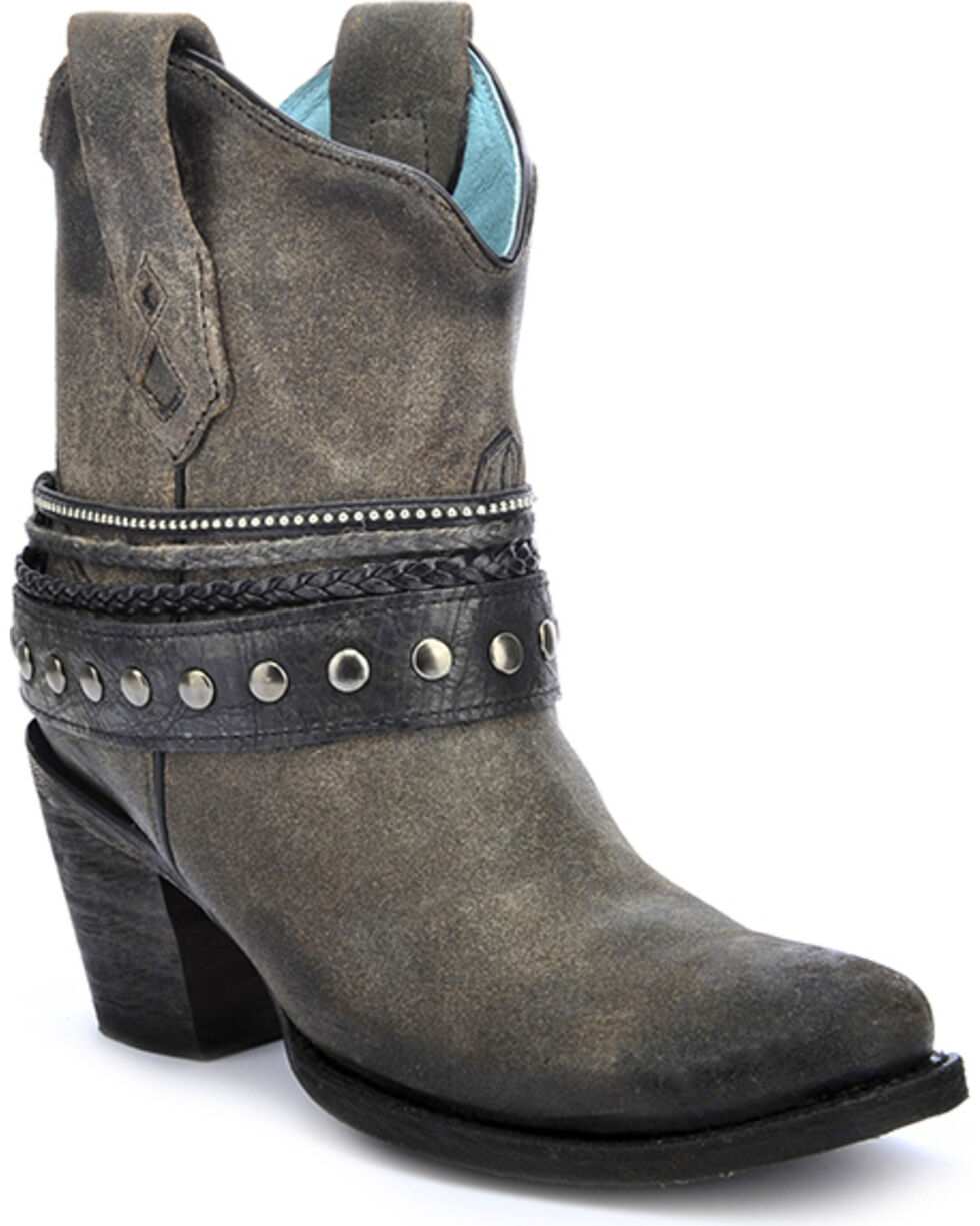 Corral Women's Studded Strap Ankle Boots - Round Toe, Black, hi-res