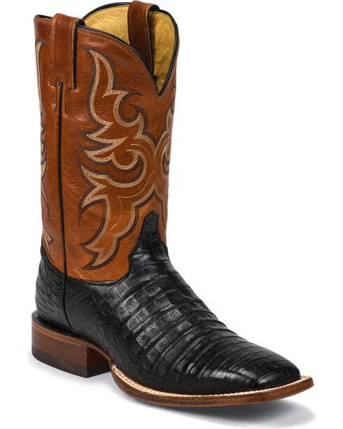 Justin Men's AQHA Remuda Caiman Cowboy Boots - Square Toe, Black, hi-res