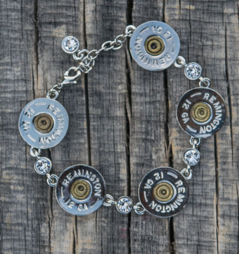 SouthLife Supply Women's Shotshell Link Bracelet in Traditional Silver with Crystals, Silver, hi-res