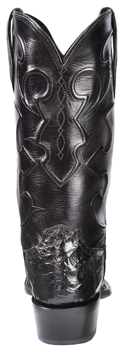 Lucchese Handcrafted 1883 Croc Belly Cowboy Boots - Snoot Toe, Black, hi-res