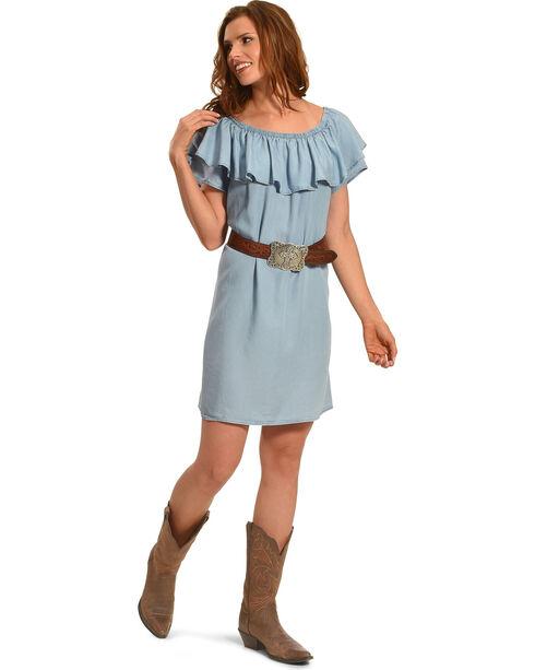 Ruby Rd. Women's Scoop Neck with Ruffle Denim Dress, Light/pastel Blue, hi-res