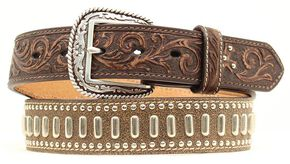 Ariat Floral Tooled Textured & Studded Leather Belt, Brown, hi-res