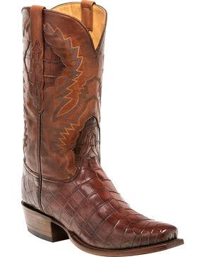 Lucchese Men's Handmade McKinley Dark Cognac Nile Crocodile Western Boots - Square Toe, Cognac, hi-res