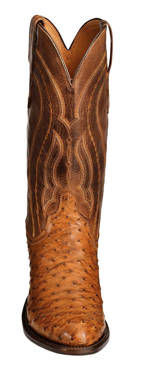 Lucchese Handcrafted 1883 Full Quill Ostrich Drosseto Boots - Round Toe, Tan, hi-res