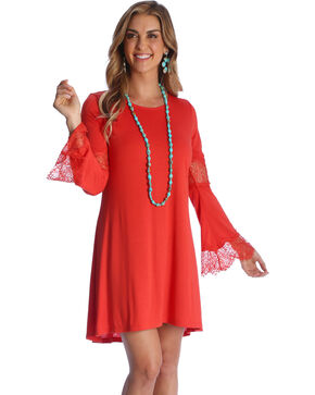 Wrangler Women's Paprika Crochet Bell Sleeve Dress , Rust Copper, hi-res