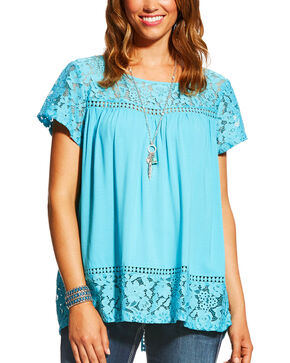 Ariat Women's Adena Maui Blue Lace Yoke Split Back Top, Blue, hi-res