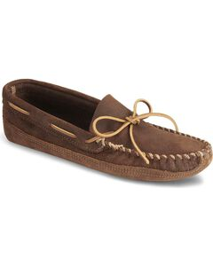 Minnetonka Distressed Leather Moccasins, Brown, hi-res