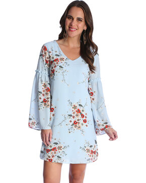 Wrangler Women's Blue Floral Print Trumpet Sleeve Dress , Blue, hi-res