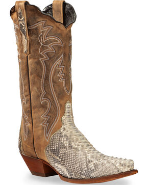 Dan Post Tan and White Python Charmer Cowgirl Boots - Snip Toe, Natural, hi-res