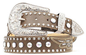 Nocona Rhinestone Studded Wing Inlay Leather Belt, Brown, hi-res