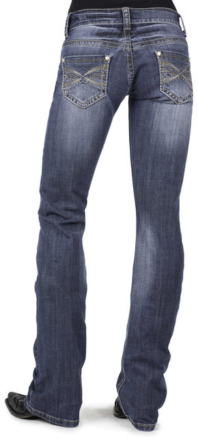 Stetson Women's 818 Contemporary X-Stitch Bootcut Jeans - Plus, Denim, hi-res