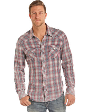 Rock & Roll Cowboy Men's Chambray Plaid Long Sleeve Snap Shirt, Indigo, hi-res