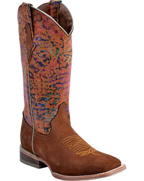Ferrini Women's Marbled Medley Western Boots - Square Toe, Brown, hi-res
