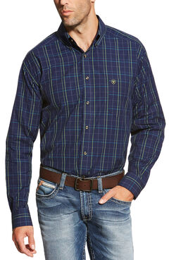 Ariat Men's Peacoat Navy Brennan Shirt - Big and Tall, Navy, hi-res