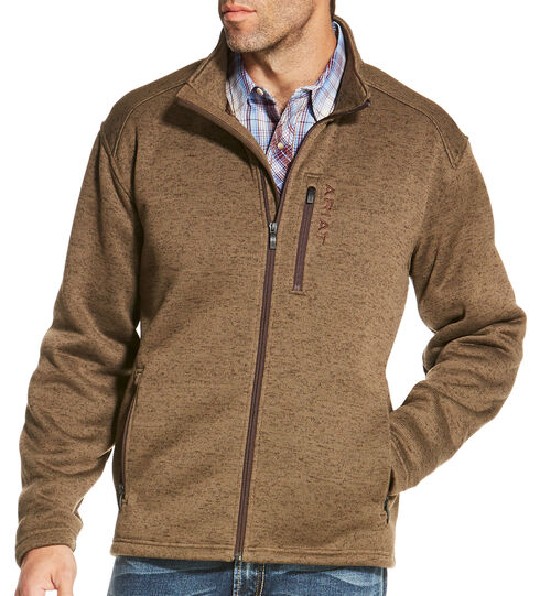 Ariat Men's Light Brown Caldwell Full Zip Sweater , Light Brown, hi-res