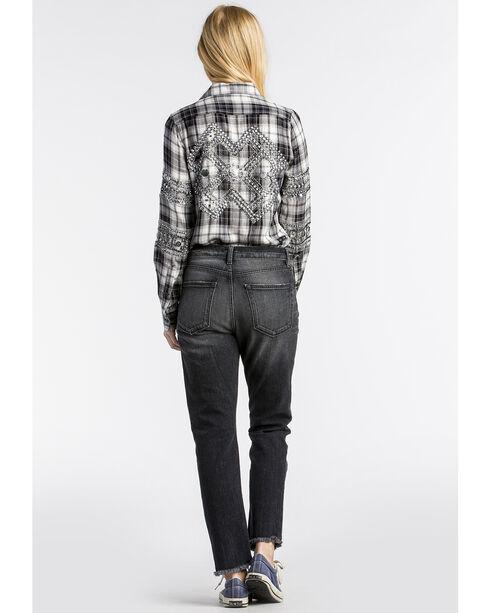 MM Vintage Women's Grey Secrets Out Embellished Top , Black, hi-res