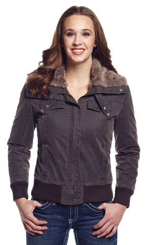 Cripple Creek Women's Zip Front Aviator Jacket with Faux Fur Collar, Green, hi-res