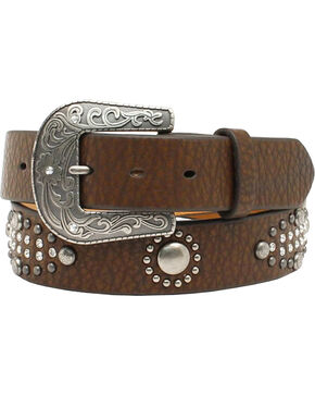 "Nocona Women's 1/ 1/2"" Nailhead Rhinestone Design Belt, Brown, hi-res"