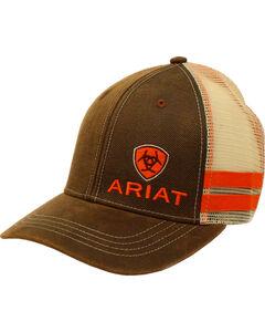 Ariat Men's Brown Side-Striped Baseball Cap , Brown, hi-res