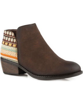 Roper Women's Brown Angel Fire Western Boots - Round Toe, Brown, hi-res