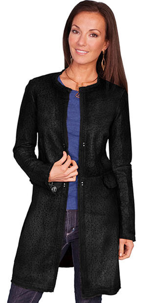 Scully Women's Laser Cut Leather Coat, Black, hi-res