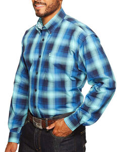 Cinch Men's Blue Plaid Button Down Long Sleeve Shirt , Blue, hi-res