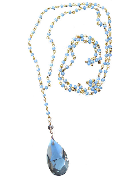 2 Queen B's Women's Jasmine Blue-Grey Crystal Chain Necklace, Light Blue, hi-res