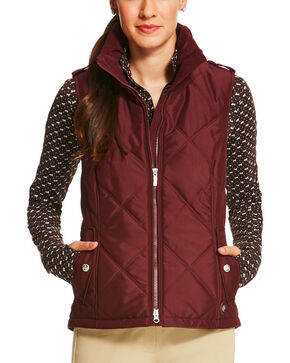 Ariat Women's Diamond Quilted Terrace Vest, Burgundy, hi-res