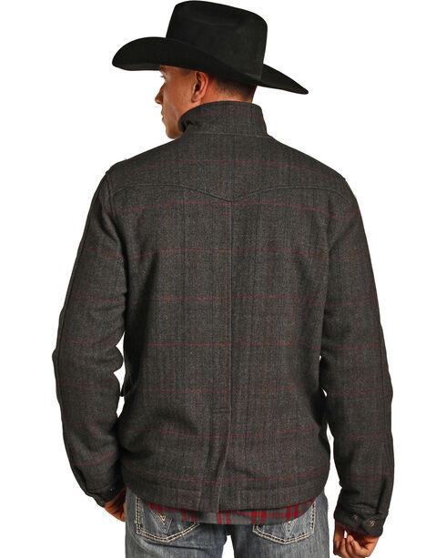 Powder River Outfitters Men's Grey Herringbone Plaid Wool Coat , Grey, hi-res