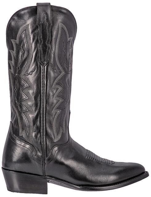 El Dorado Black Vanquished Calf Cowboy Boots - Round Toe, Black, hi-res